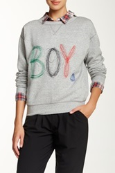 Band Of Outsiders Boy Scribble Embroidered Sweatshirt Gray