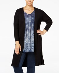 Styleandco. Style Co. Plus Size Rib Knit Duster Cardigan Only At Macy's Deep Black