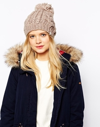 Esprit Chunky Knit Bobble Beanie Hat Toffee