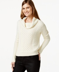 Cece By Cynthia Steffe Cowl Neck Cable Knit Sweater Light Cream