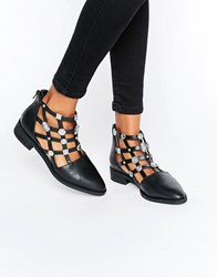 Eeight Rain Embellished Cut Out Leather Flat Ankle Boots Black Leather Silver