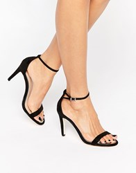 Call It Spring Liraniel Black Barely There Heeled Sandals Black Nubuck