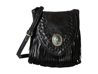 American West Seminole Soft Fringe Crossbody Charcoal Cross Body Handbags Gray