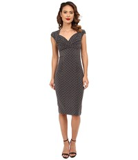 Stop Staring Esmee Fitted Dress Grey Navy Polka Dots Women's Dress Gray