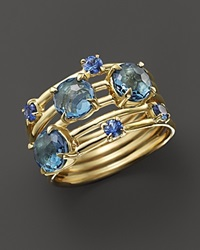 Ippolita 18K Gold Lollipop Constellation Ring In London Blue Topaz And Medium Blue Sapphire Blue Gold