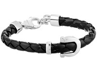 Salvatore Ferragamo Braided Gancio Bracelet Black