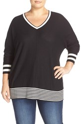 Sejour Plus Size Women's Dolman Sleeve Wedge Sweater Black Ivory
