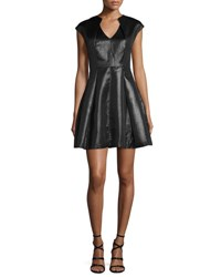 Cap Sleeve Metallic Jersey Fit And Flare Dress Black