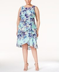 Sl Fashions Plus Size Tiered Floral Print Dress Pastel Green