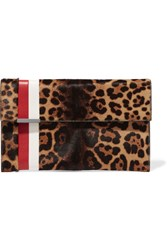 Tomasini Daytona Leather Trimmed Leopard Print Calf Hair Clutch Leopard Print