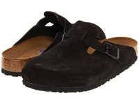 Birkenstock Boston Soft Footbed Unisex Black Suede Clog Shoes