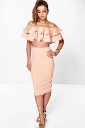 Boohoo Double Ruffle Crop And Midi Skirt Co Ord Set Apricot