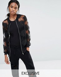 Missguided Exclusive Embroidered Mesh Bomber Jacket Black