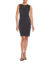 Elie Tahari Faux Suede Crocheted Inset Dress Charcoal