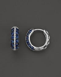 Bloomingdale's Sapphire And Diamond Huggie Hoop Earrings In 14K White Gold Blue