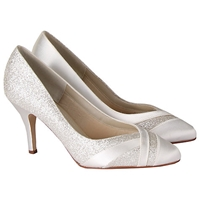Rainbow Club Mila Extra Wide Fit Glitter Satin Strip Court Shoes Ivory