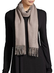Yves Saint Laurent Fringed Cashmere Scarf Opal Grey