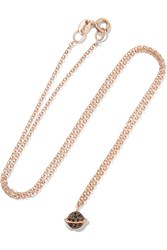 Aamaya By Priyanka Saturn Rose Gold Plated Zircon Necklace Rose Gold Black