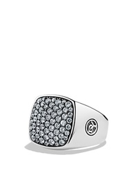 David Yurman Pave Signet Ring With Gray Sapphires Silver White