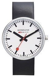 Men's Mondaine ' Black White Evo Lution Sbb Mini Giant' Leather Strap Watch 35Mm