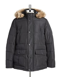 William Rast Hooded Faux Fur Trimmed Parka Black