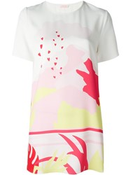 P.A.R.O.S.H. Printed T Shirt Dress White