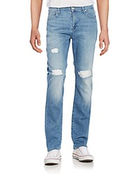 7 For All Mankind Standard Distressed Straight Leg Jeans Kennedy