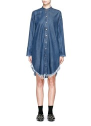 Acne Studios 'Gracie' Frayed Denim Shirt Dress Blue