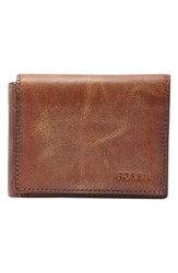 Men's Fossil 'Derrick' Leather Execufold Wallet Brown