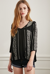 Forever 21 Embroidered Gauze Peasant Top Black Cream