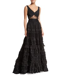 Alexis Samuel Sleeveless Tiered Lace Gown Black Women's Size X Small Black Lace