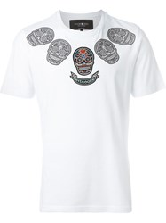 Hydrogen Embroidered Skull T Shirt White