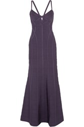 Herve Leger Cutout Bandage Gown Dark Purple