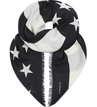 Givenchy American Flag Scarf Black White