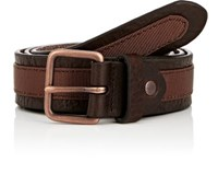 Caputo And Co. Co Men's Grosgrain Ribbon Trimmed Leather Belt Brown