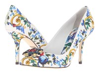 Dolce And Gabbana Maiolica Ceramic Print Brocade Bellucci Pump Maiolica Bouquet