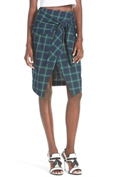 J.O.A. Plaid Tie Front Skirt Navy