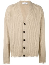 Msgm Frayed Cardigan Nude And Neutrals