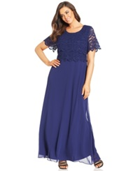 R And M Richards Plus Size Sequin Lace Tiered Bodice Gown Navy