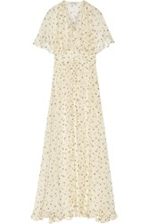 Paul And Joe Defile Ambera Printed Silk Chiffon Maxi Dress White