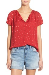 Hinge Women's Print Split Neck Top Red Chili Ditsy Dots
