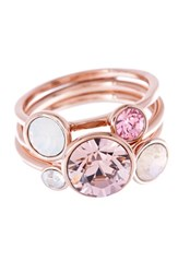 Women's Ted Baker London 'Jackie' Crystal Stacking Rings Pink Set Of 3
