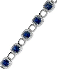 Effy Collection Royale Bleu By Effy Sapphire 11 7 10 Ct. T.W. And Diamond 1 1 4 Ct. T.W. Link Bracelet In 14K White Gold Blue