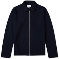 Norse Projects Magne Fine Waffle Zip Knit Blue