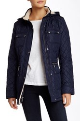 Tommy Hilfiger Faux Fur Trim Short Hooded Jacket Blue