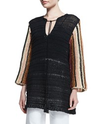 Derek Lam Melange Knit Long Sleeve Tunic Black Multi Black Multi