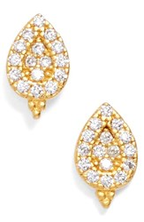 Women's Freida Rothman 'Textured Pearl' Pave Teardrop Stud Earrings