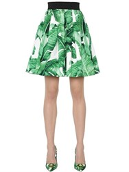 Dolce And Gabbana Leaves Print Cotton Poplin Flared Skirt