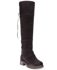 Nine West Mavira Back Lace Up Over The Knee Boots Women's Shoes Chocolate Suede