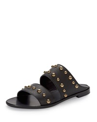 Lanvin Studded Leather Two Band Mule Black